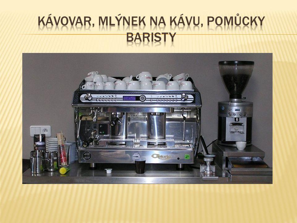 Kávovar, mlýnek na kávu, pomůcky baristy