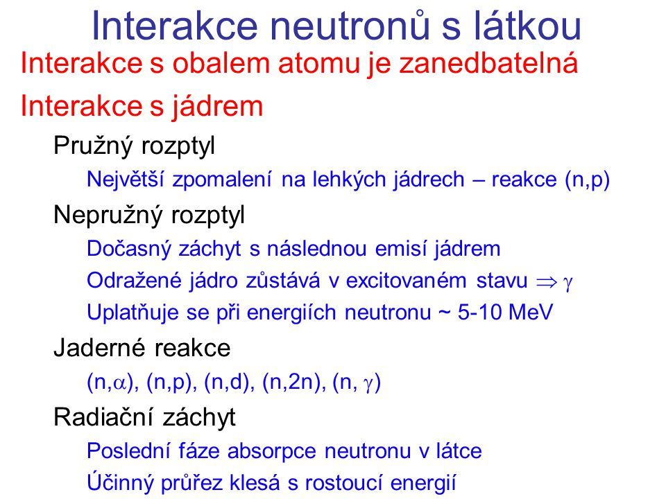 Interakce neutronů s látkou