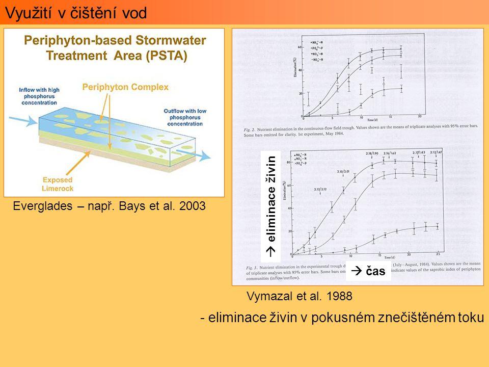 Využití v čištění vod - eliminace živin v pokusném znečištěném toku