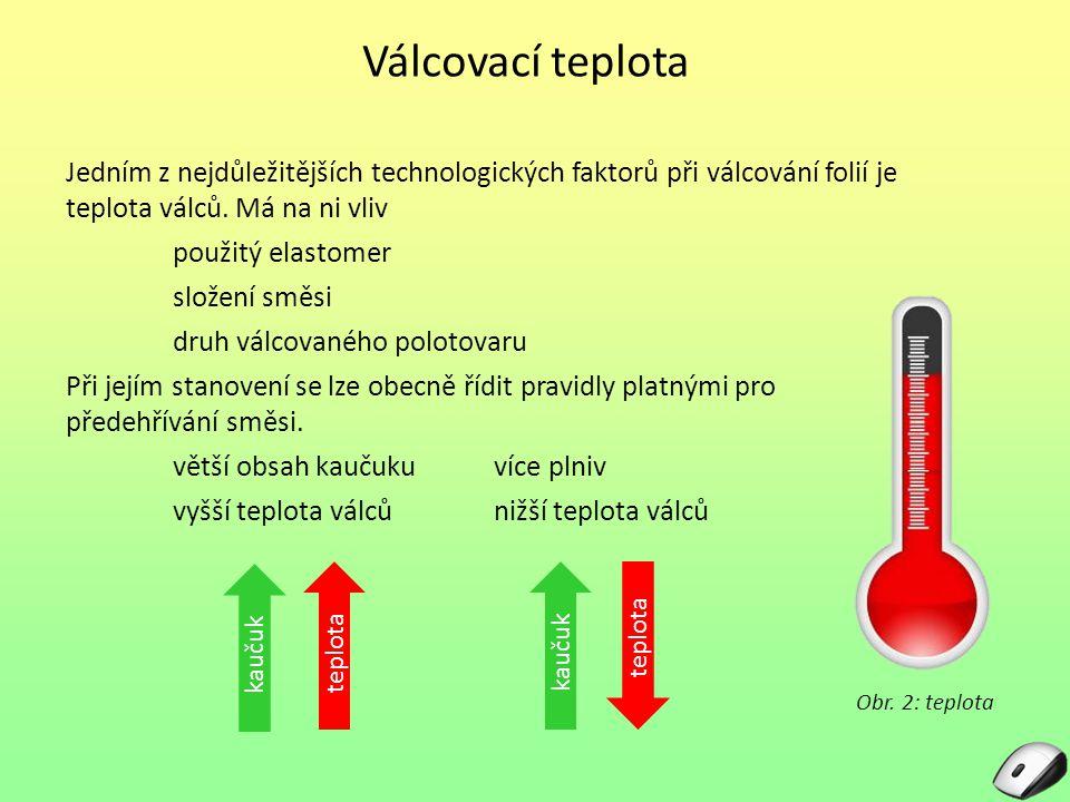 Válcovací teplota Jedním z nejdůležitějších technologických faktorů při válcování folií je teplota válců. Má na ni vliv.