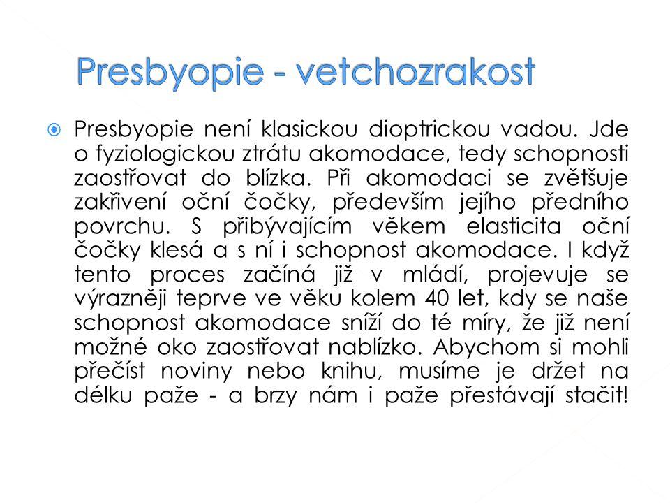 Presbyopie - vetchozrakost