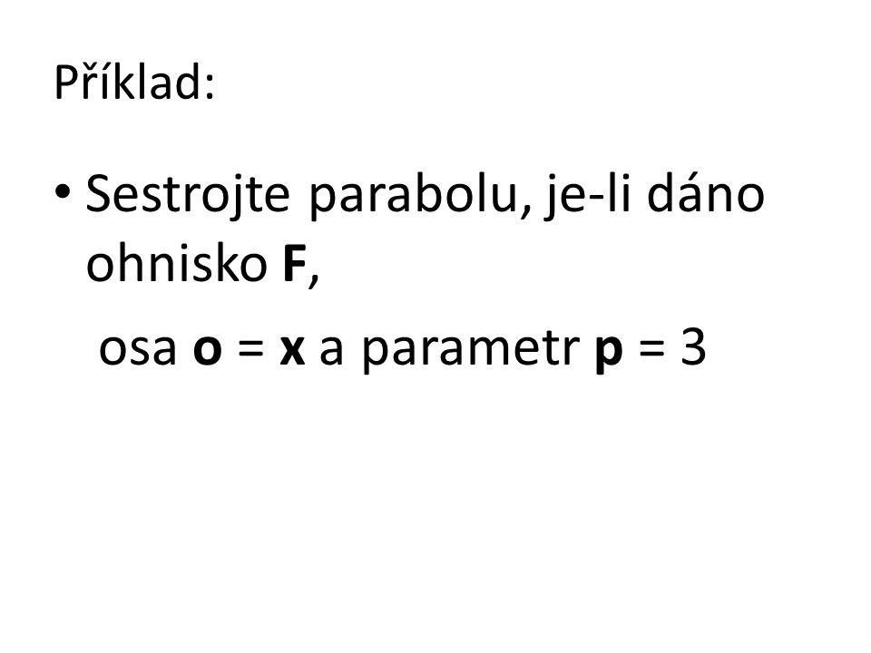 Sestrojte parabolu, je-li dáno ohnisko F, osa o = x a parametr p = 3