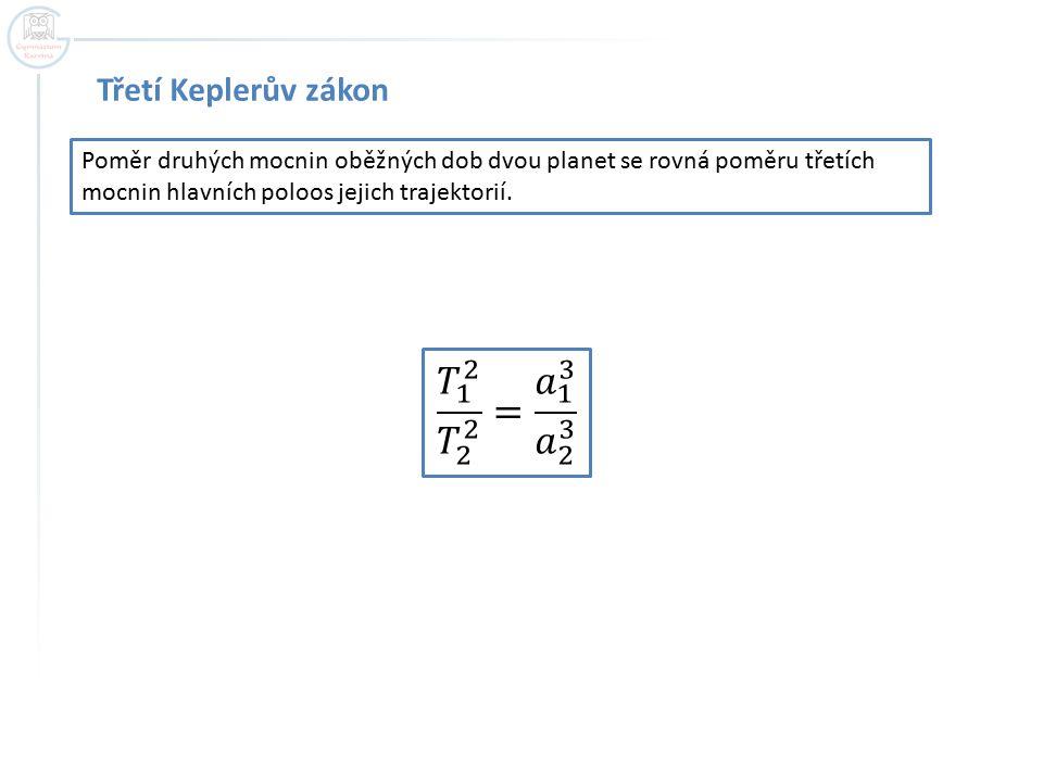 𝑇 1 2 𝑇 2 2 = 𝑎 1 3 𝑎 2 3 Třetí Keplerův zákon