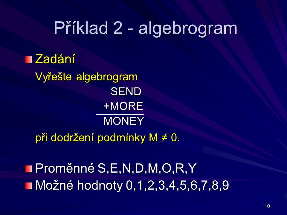 Příklad 2 - algebrogram Zadání Vyřešte algebrogram
