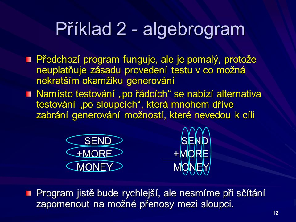 Příklad 2 - algebrogram Předchozí program funguje, ale je pomalý, protože neuplatňuje zásadu provedení testu v co možná nekratším okamžiku generování.