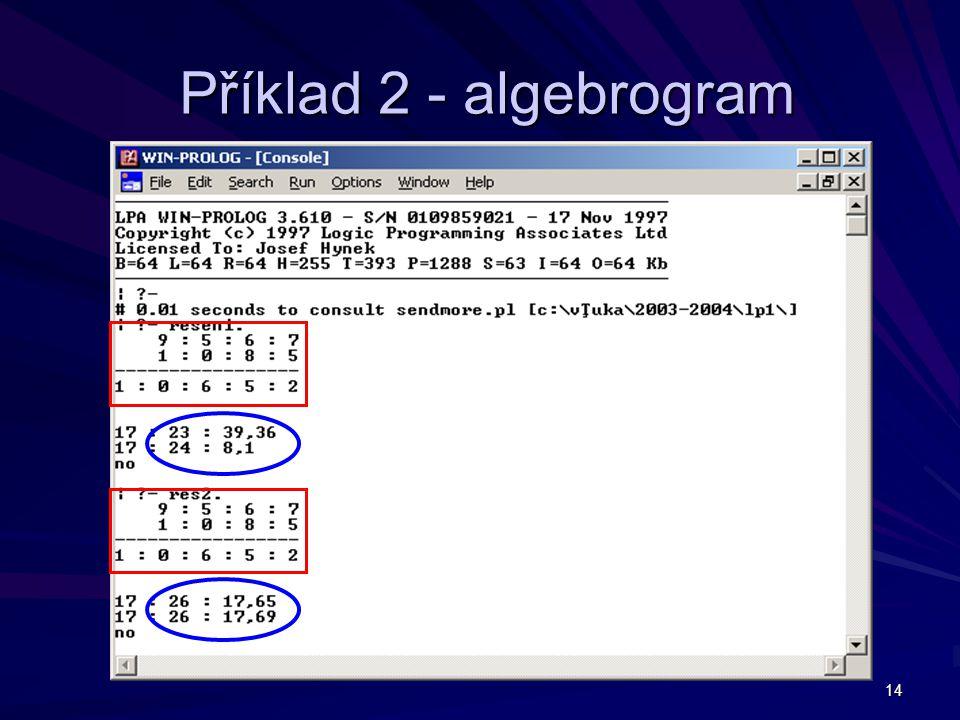 Příklad 2 - algebrogram