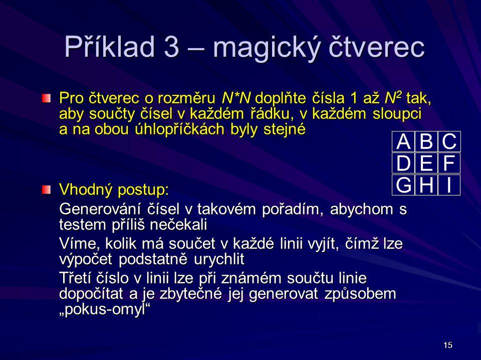 Příklad 3 – magický čtverec
