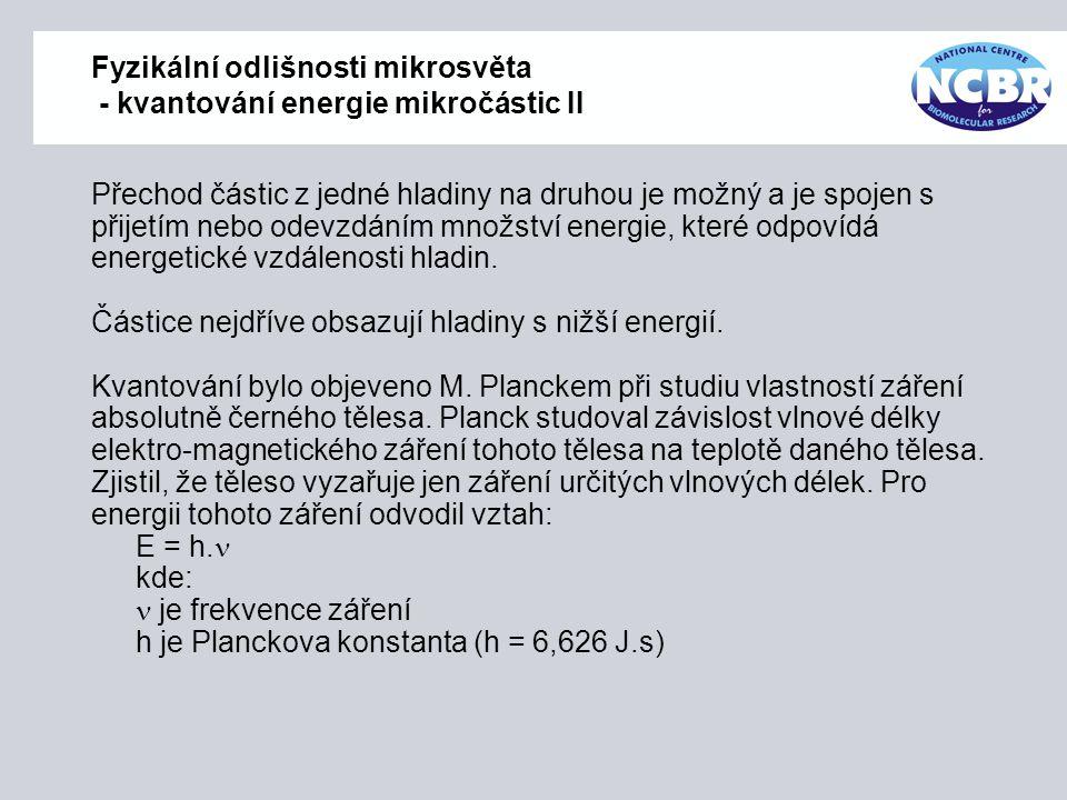 Fyzikální odlišnosti mikrosvěta - kvantování energie mikročástic II