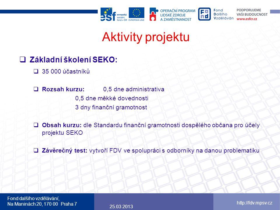 Aktivity projektu Základní školení SEKO: 35 000 účastníků