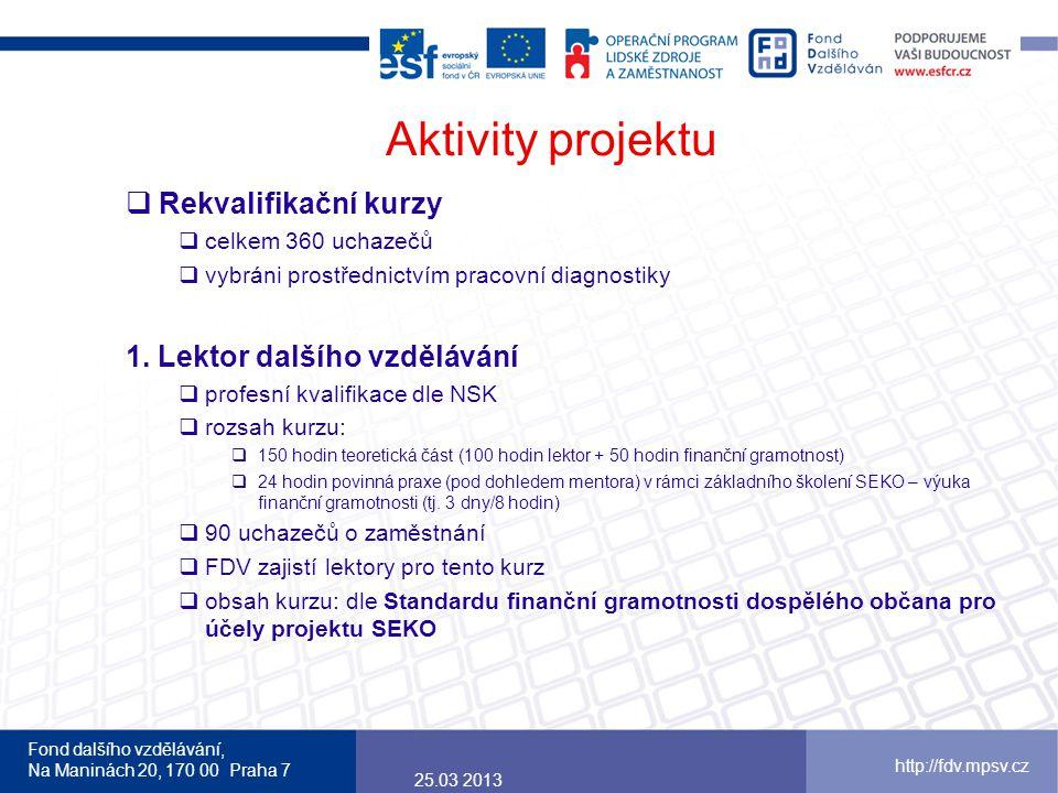 Aktivity projektu Rekvalifikační kurzy 1. Lektor dalšího vzdělávání