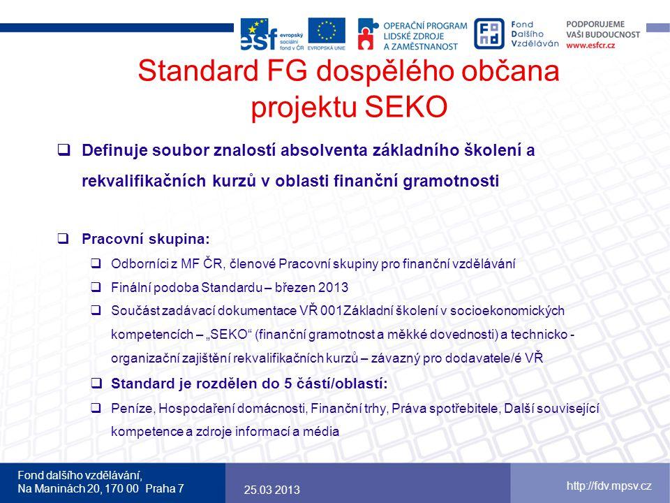 Standard FG dospělého občana projektu SEKO