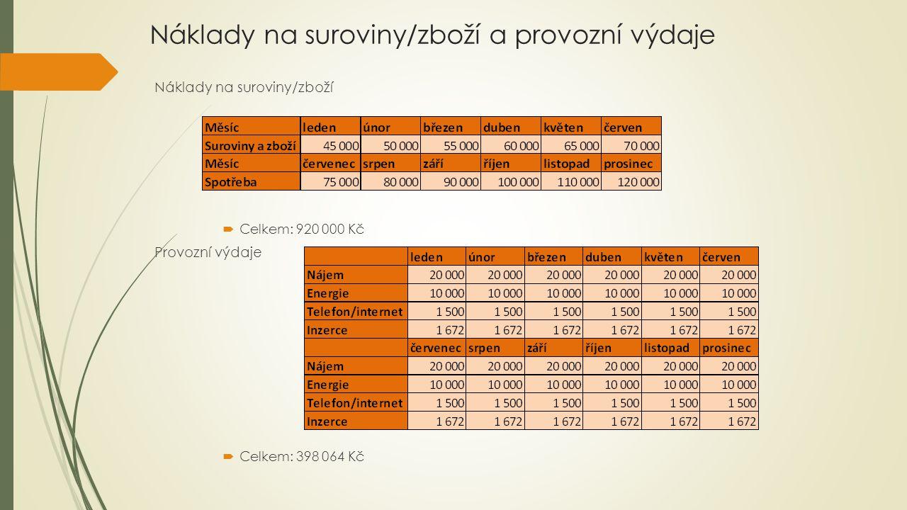 Náklady na suroviny/zboží a provozní výdaje