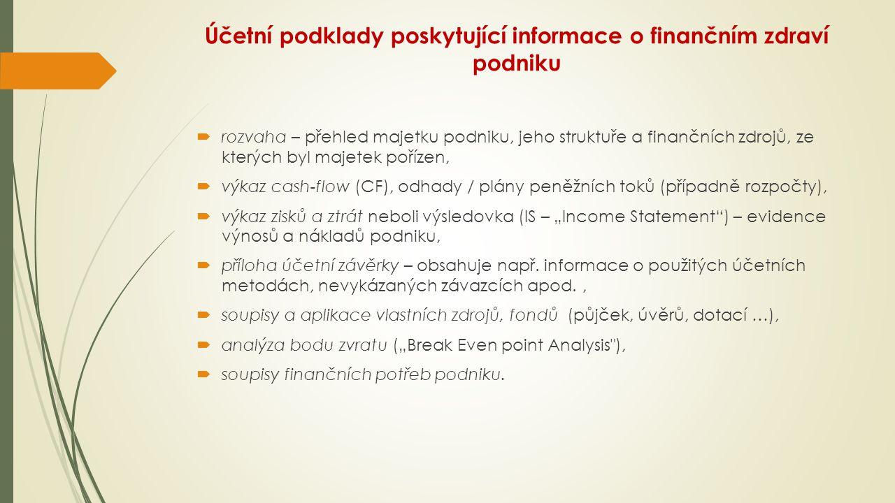Účetní podklady poskytující informace o finančním zdraví podniku