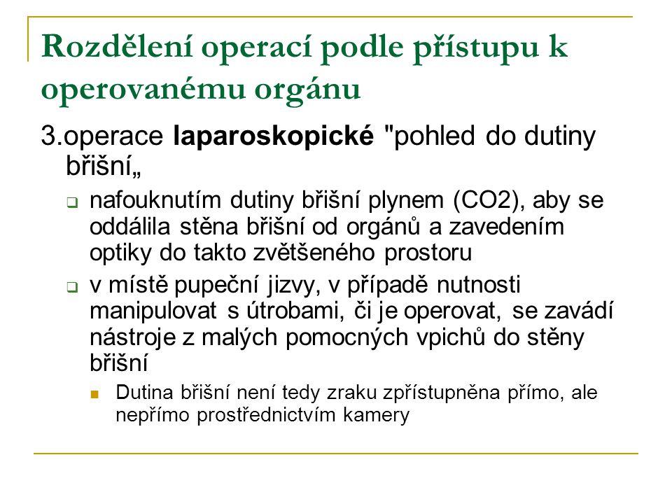 Rozdělení operací podle přístupu k operovanému orgánu