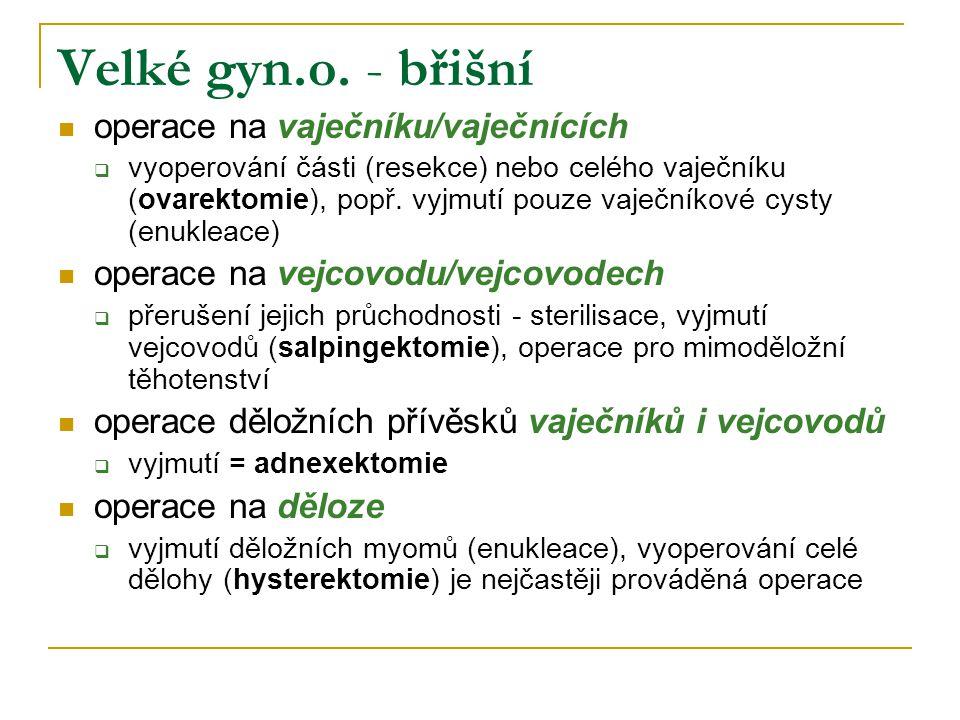 Velké gyn.o. - břišní operace na vaječníku/vaječnících