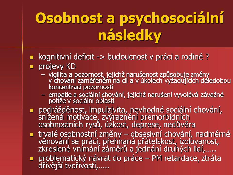 Osobnost a psychosociální následky