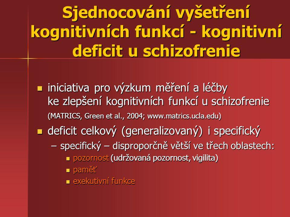 Sjednocování vyšetření kognitivních funkcí - kognitivní deficit u schizofrenie