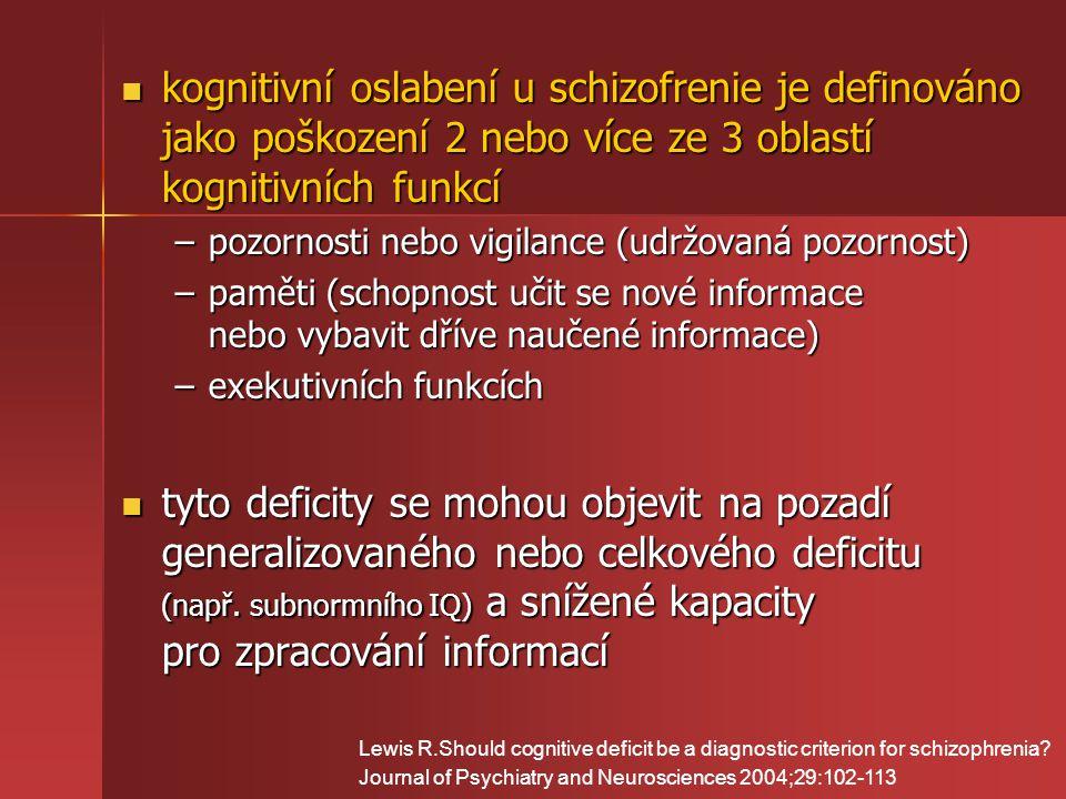 kognitivní oslabení u schizofrenie je definováno jako poškození 2 nebo více ze 3 oblastí kognitivních funkcí