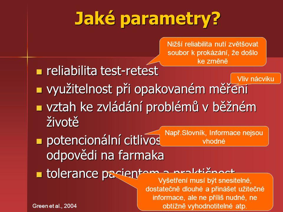 Jaké parametry reliabilita test-retest