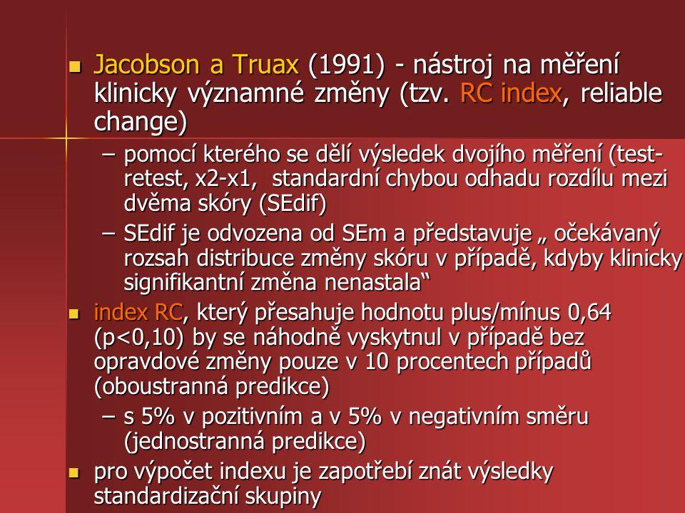 Jacobson a Truax (1991) - nástroj na měření klinicky významné změny (tzv. RC index, reliable change)