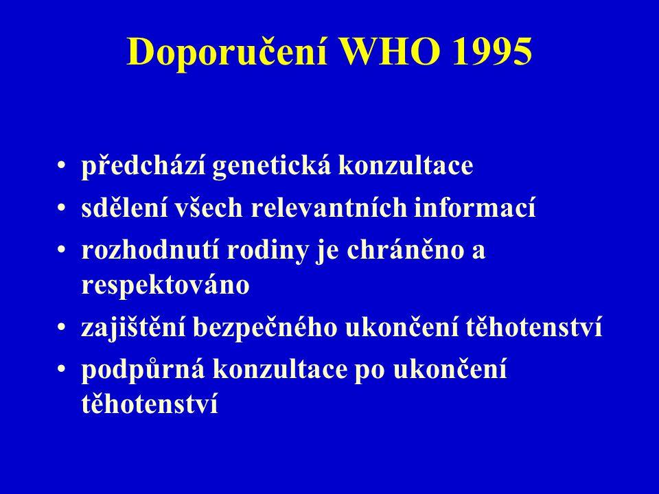 Doporučení WHO 1995 předchází genetická konzultace
