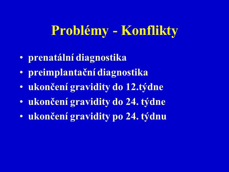 Problémy - Konflikty prenatální diagnostika preimplantační diagnostika