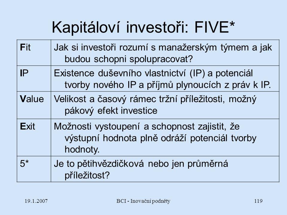 Kapitáloví investoři: FIVE*