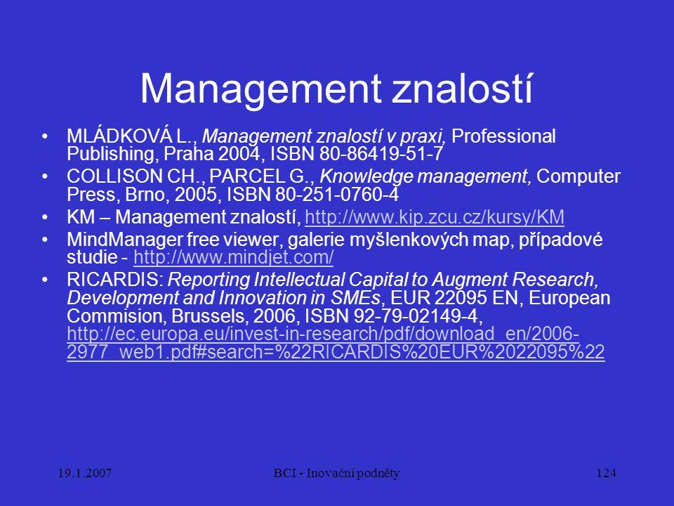 Management znalostí MLÁDKOVÁ L., Management znalostí v praxi, Professional Publishing, Praha 2004, ISBN 80-86419-51-7.
