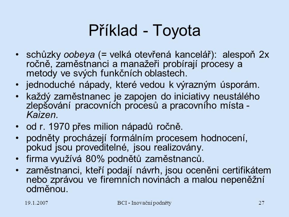 Příklad - Toyota