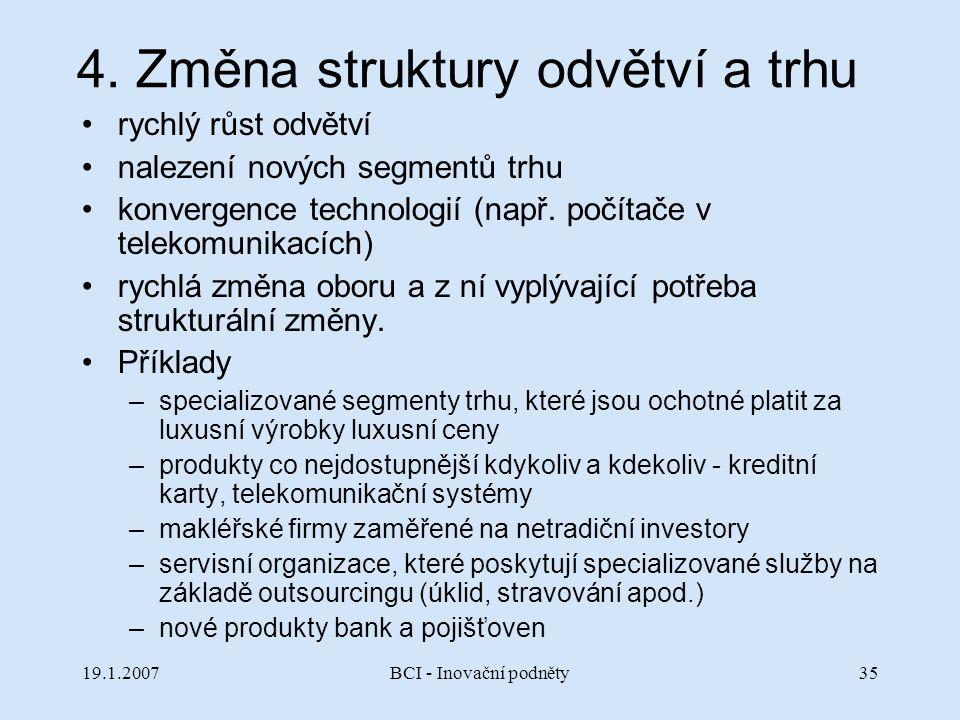 4. Změna struktury odvětví a trhu