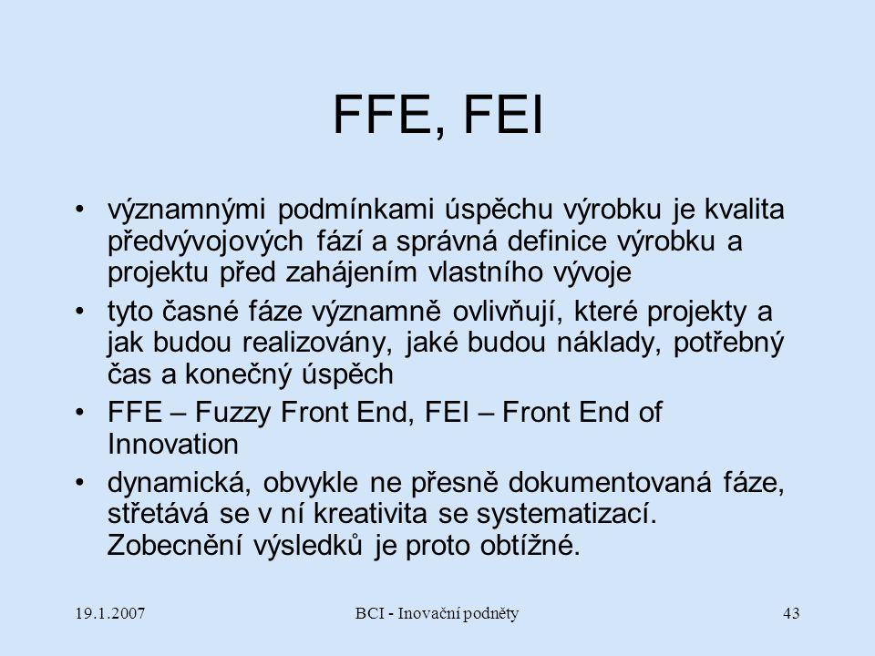 FFE, FEI významnými podmínkami úspěchu výrobku je kvalita předvývojových fází a správná definice výrobku a projektu před zahájením vlastního vývoje.