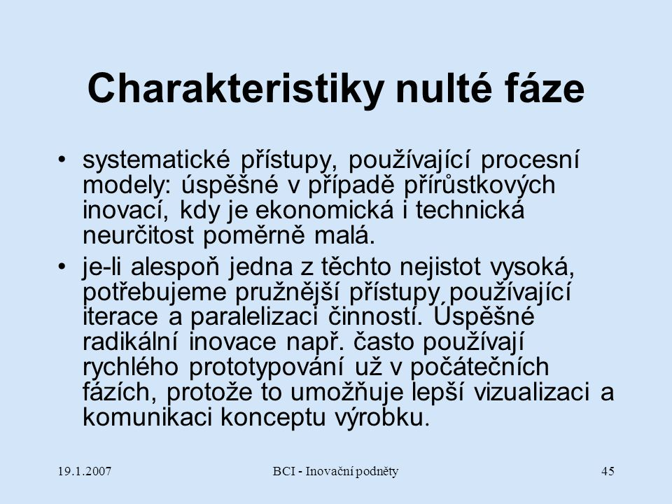 Charakteristiky nulté fáze