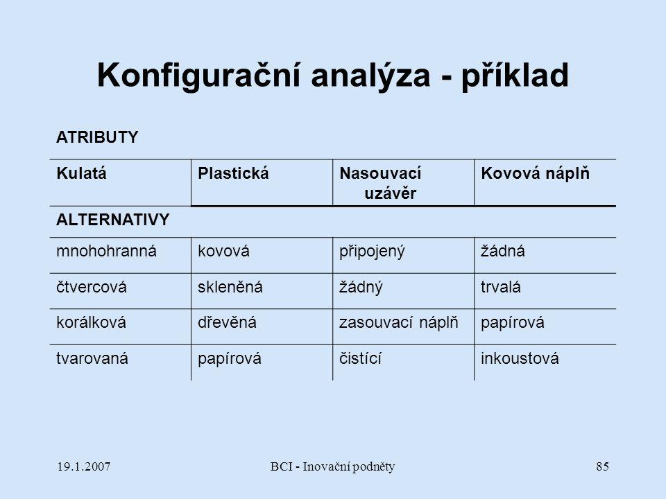 Konfigurační analýza - příklad