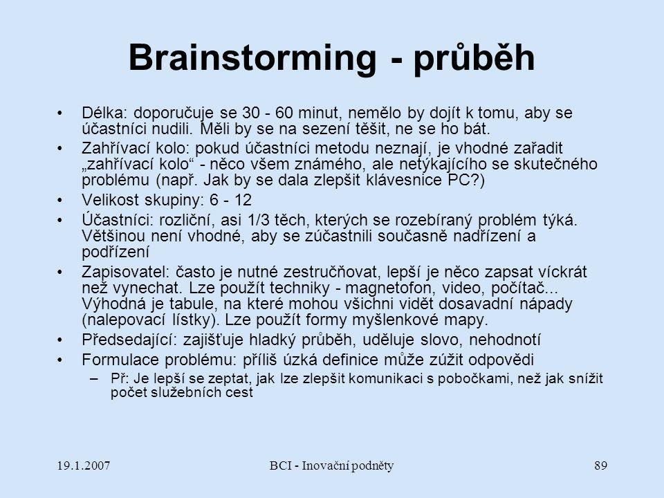 Brainstorming - průběh