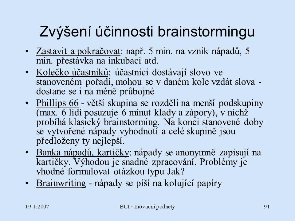 Zvýšení účinnosti brainstormingu