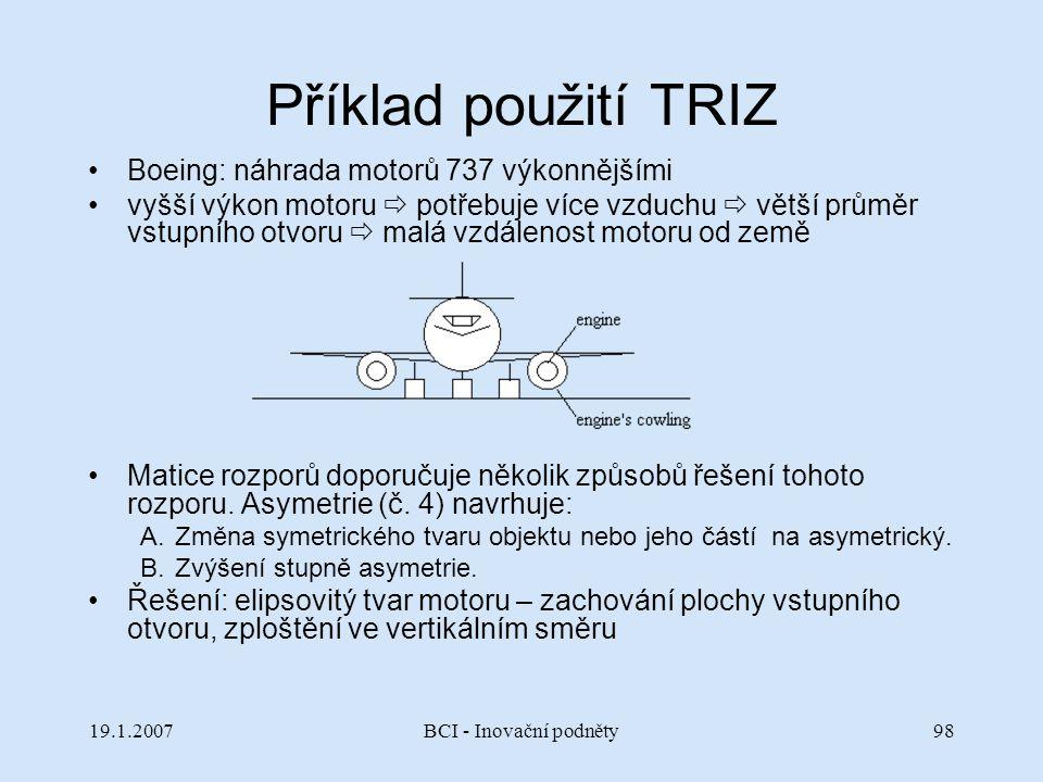 Příklad použití TRIZ Boeing: náhrada motorů 737 výkonnějšími