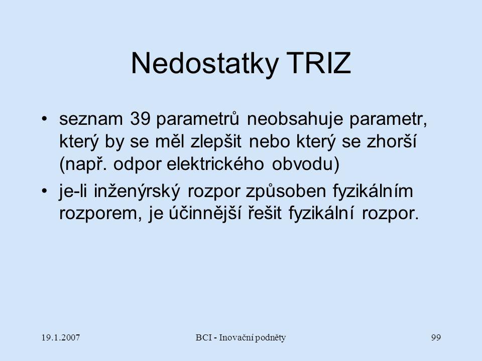 Nedostatky TRIZ seznam 39 parametrů neobsahuje parametr, který by se měl zlepšit nebo který se zhorší (např. odpor elektrického obvodu)