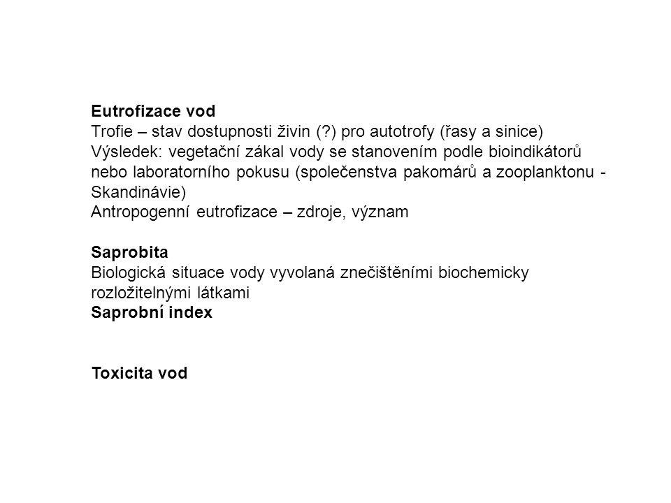 Eutrofizace vod Trofie – stav dostupnosti živin ( ) pro autotrofy (řasy a sinice)