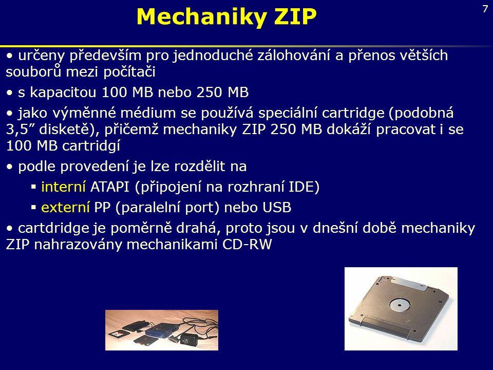 Mechaniky ZIP určeny především pro jednoduché zálohování a přenos větších souborů mezi počítači. s kapacitou 100 MB nebo 250 MB.