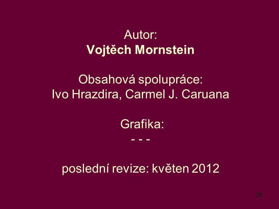 Autor: Vojtěch Mornstein Obsahová spolupráce: Ivo Hrazdira, Carmel J