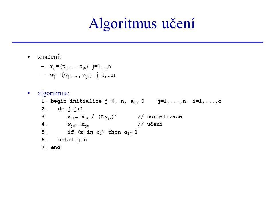 Algoritmus učení značení: algoritmus: xj = (xj1, ..., xjn) j=1,...,n