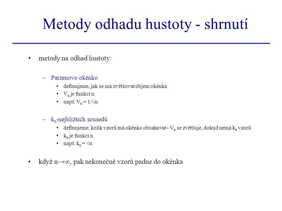 Metody odhadu hustoty - shrnutí