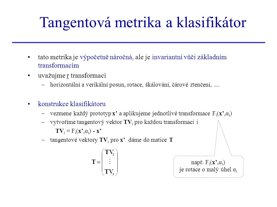 Tangentová metrika a klasifikátor