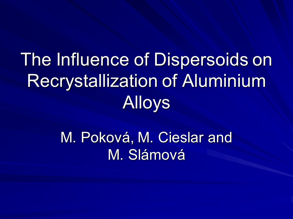 The Influence of Dispersoids on Recrystallization of Aluminium Alloys