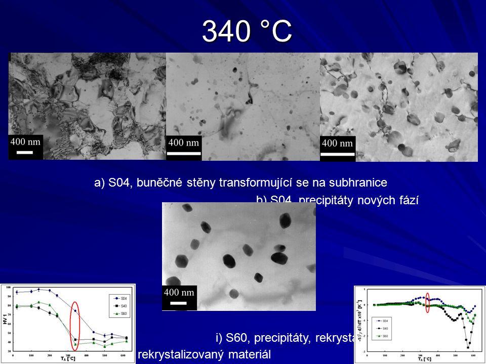 340 °C a) S04, buněčné stěny transformující se na subhranice