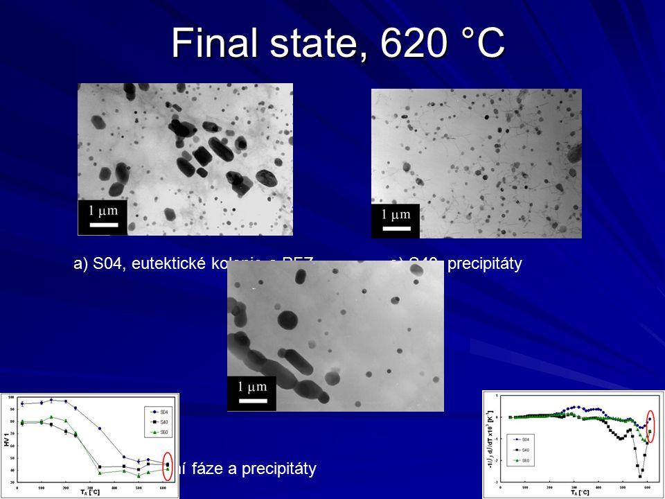 Final state, 620 °C a) S04, eutektické kolonie a PFZ