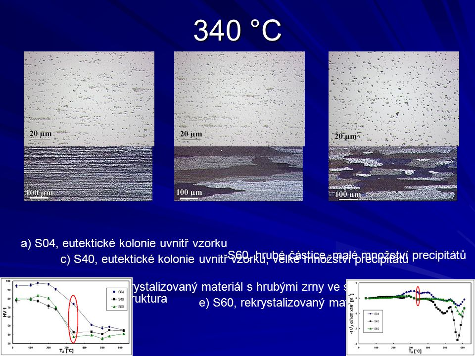 340 °C a) S04, eutektické kolonie uvnitř vzorku