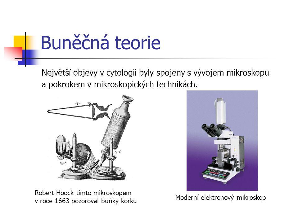 Buněčná teorie Největší objevy v cytologii byly spojeny s vývojem mikroskopu. a pokrokem v mikroskopických technikách.