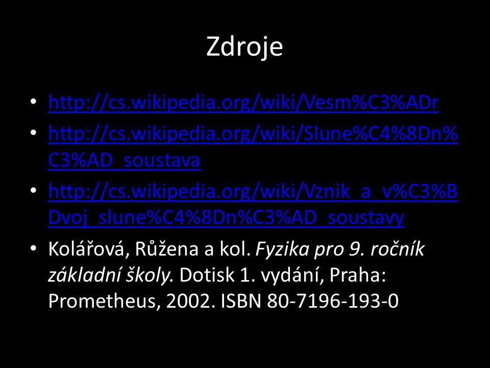Zdroje http://cs.wikipedia.org/wiki/Vesm%C3%ADr