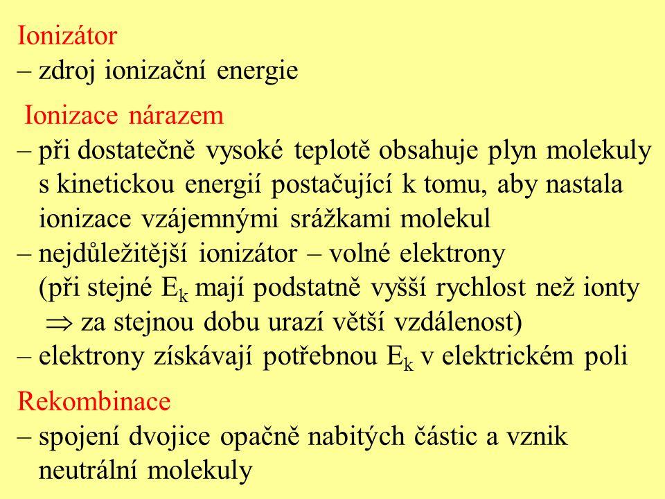 Ionizátor – zdroj ionizační energie. Ionizace nárazem. – při dostatečně vysoké teplotě obsahuje plyn molekuly.